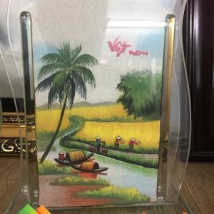 Tranh cát phong cảnh đồng quê Việt Nam có lúa, dừa, con sông