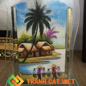 Tranh cát phong cảnh đồng quê hương Việt Nam, cảnh đồng quê sông nước