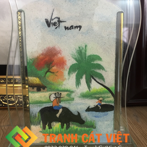 Tranh cát phong cảnh quê hương Việt Nam đẹp nghệ thuật với con trâu, bến nước