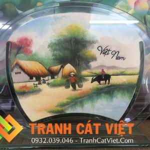 Tranh cát phong cảnh đồng quê Việt Nam đường làng đẹp