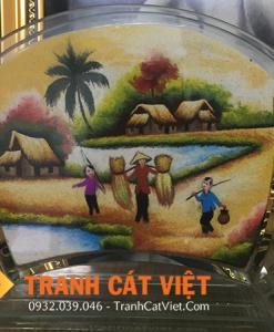 Tranh cát phong cảnh làng quê Việt Nam yên bình
