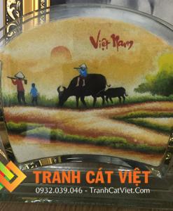 Tranh cát phong cảnh đẹp Việt Nam cảnh chiều quê